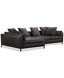 "CLOSEOUT! Plassey 135"" 2-Pc. Leather Chaise Sectional Sofa"
