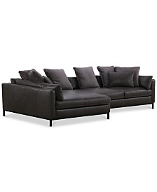 Plassey 2-Pc. Leather Chaise Sectional Sofa