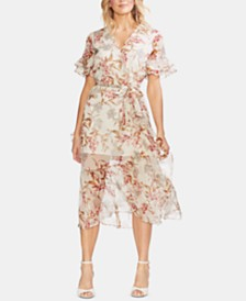 Vince Camuto Printed Ruffled-Hem Dress