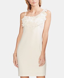 Vince Camuto Ruffle-Neck Crêpe Dress