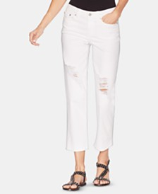 Vince Camuto Cropped White Ripped Jeans