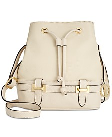 Giani Bernini Pebble Leather Bridle Bucket Bag, Created for Macy's