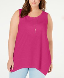 Style & Co Plus Size Handkerchief-Hem Tank Top, Created for Macy's