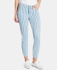 WILLIAM RAST Striped Cropped Skinny Jeans