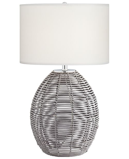 Kathy Ireland Grey Basket Table Lamp