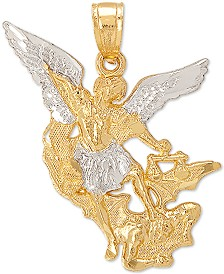 St. Michael Angel Pendant in 14k Gold