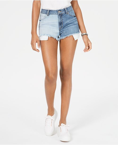 Rewash Juniors' Colorblocked Denim Shorts