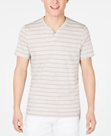 I.N.C. Men's Striped Split-Neck T-Shirt, Created for Macy's