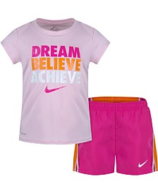 Nike Little Girls 2-Pc. Dri-FIT Dream Believe Graphic T-Shirt & Shorts Set