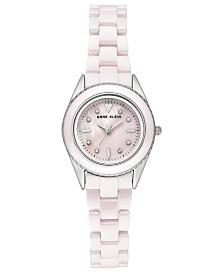 Anne Klein Woman's Light Pink Ceramic Bracelet Watch 26mm