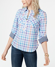 Tommy Hilfiger Popover Zip-Neck Plaid Top, Created for Macy's