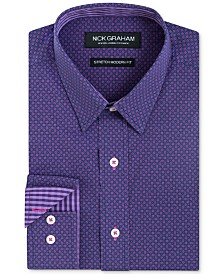 Nick Graham Men's Long Sleeve Stretch Circular Diamond Print Shirt