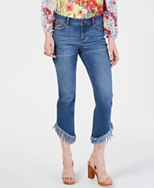 I.N.C. Rainbow Fringe Cropped Skinny Jeans, Created for Macy's