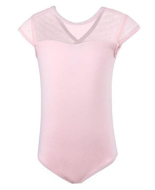 Flo Dancewear Little & Big Girls Sparkle Mesh Cap-Sleeve Leotard