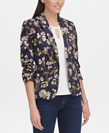 Tommy Hilfiger Floral-Print One-Button Jacket, Created for Macy's