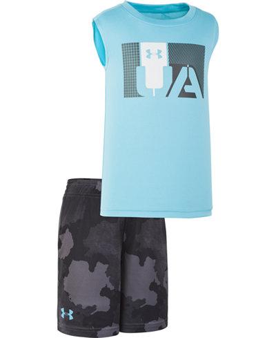 Under Armour Toddler Boys 2-Pc. Traverse Camo-Print Tank Top & Shorts Set
