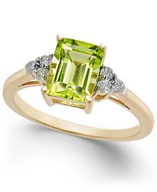 Peridot (1-3/4 ct. t.w.) & Diamond (1/8 ct. t.w.) Statement Ring in 14k Gold