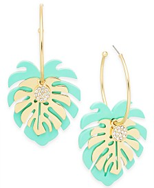 I.N.C. Gold-Tone Palm Leaf Charm Hoop Earrings, Created for Macy's