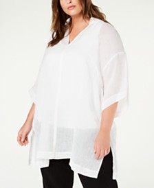 Eileen Fisher Plus Size Organic Linen Tunic