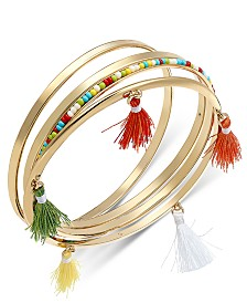 I.N.C. Gold-Tone 4-Pc. Set Multicolor Bead & Tassel Bangle Bracelets, Created for Macy's