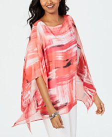JM Collection Printed Poncho-Sleeve Top, Created for Macy's