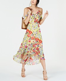 I.N.C. Floral Cold-Shoulder Midi Dress, Created for Macy's