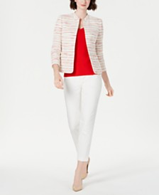 Anne Klein Mandarin-Collar Blazer, Top & Ankle Pants