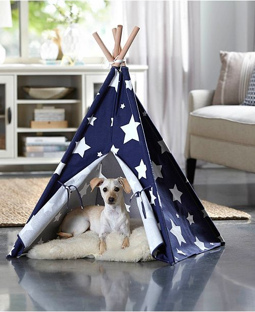 zoovilla Pet Teepee, Blue with White Stars, Large