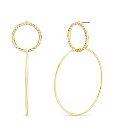 Women's White Rhinestone Interlocking Open Circle Drop Post Earrings