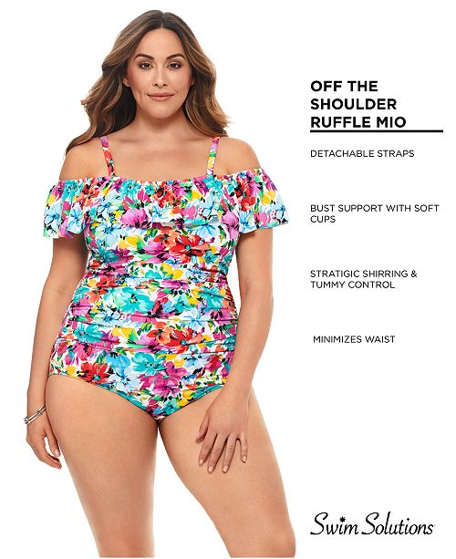 4d129ff224fe5 ... Swim Solutions Plus Size Floral Vista Printed Off-The-Shoulder  Tummy-Control One ...