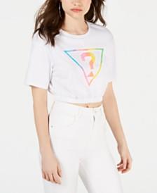 GUESS Originals Cotton Cropped Rainbow Logo T-Shirt