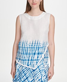 DKNY Printed Fringed-Hem Asymmetrical Top