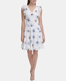 Tommy Hilfiger Floral Lace Flutter Dress