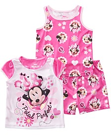 AME Toddler Girls 3-Pc. Minnie Mouse Graphic Pajamas Set