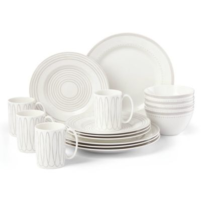 Charlotte Street West Grey 16-PC Dinnerware Set, Service for 4