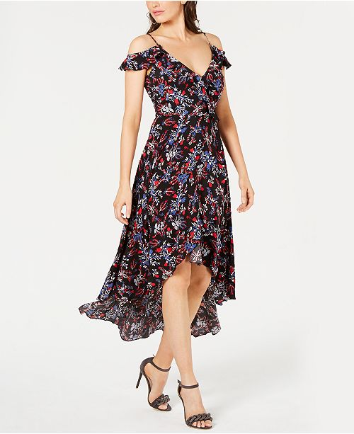 GUESS Bora Cold-Shoulder High-Low Dress