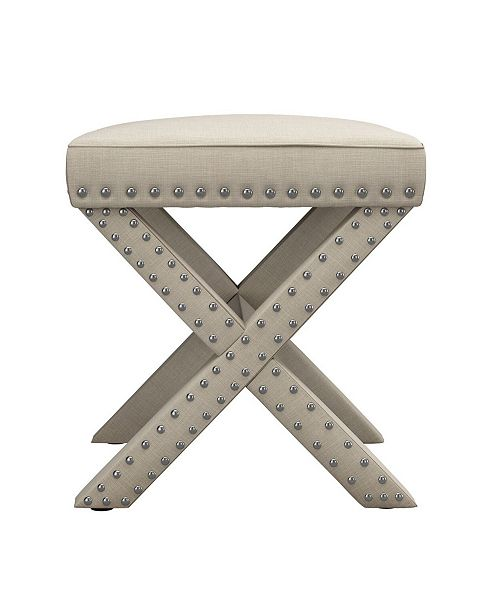 Fantastic Bradford Linen Fabric X Base Nailhead 17 Ottoman Bench Beatyapartments Chair Design Images Beatyapartmentscom