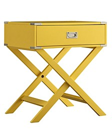 Belfort X Base Wood Accent Campaign Table