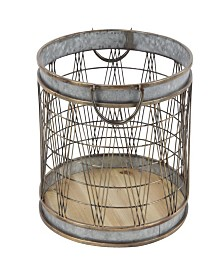 Rosemary Lane Set of 2 Industrial Cylindrical Storage Baskets