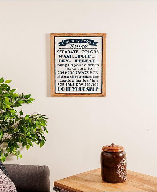 Farmhouse Rectangular Laundry Rules Wall Decor