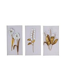 Set of 3 Contemporary Rectangular Floral Wall Arts