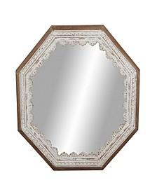 Rustic Octagonal Wooden Framed Wall Mirror