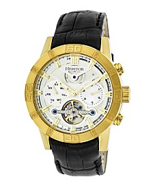 Heritor Automatic Hamilton Silver Dial, Gold Case, Genuine Black Leather Watch 44mm