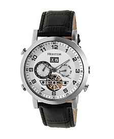 Heritor Automatic Edmond Silver Case, Genuine Black Leather Watch 43mm