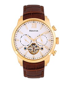 Automatic Arthur Gold Case, Genuine Brown Leather Watch 45mm