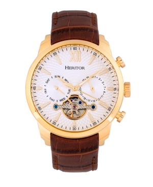 Heritor Automatic Arthur Gold Case, Genuine Brown Leather Watch 45mm