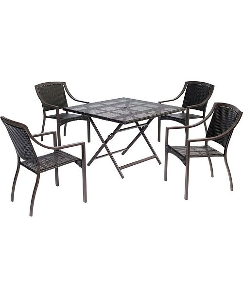 """Hanover Orleans 5-Piece Dining Set with 42"""" Square Table - 28"""" x 42"""" x 68.34"""""""