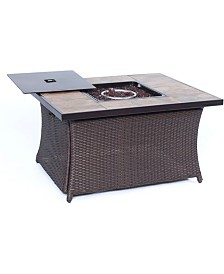 """Woven 40,000 BTU Fire Pit Coffee Table with Porcelain Tile Top - 23.5"""" x 35.83"""" x 75"""""""