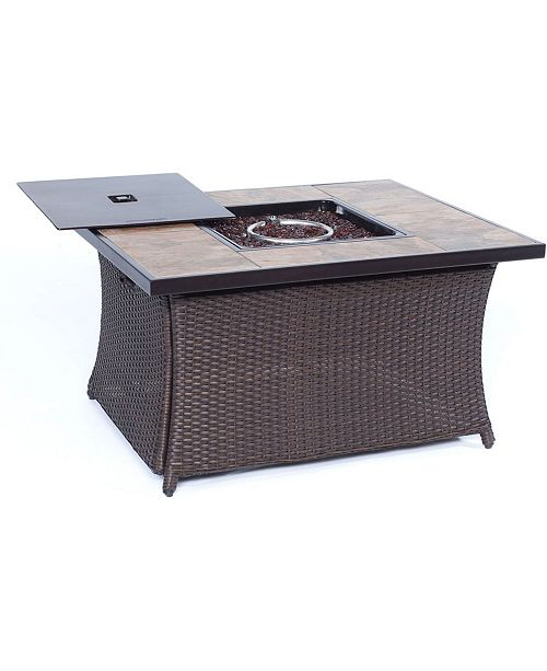 """Hanover Woven 40,000 BTU Fire Pit Coffee Table with Porcelain Tile Top - 23.5"""" x 35.83"""" x 75"""""""