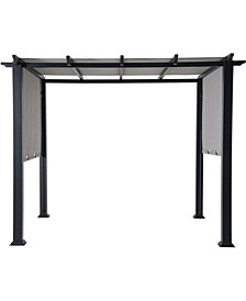 "8 x 10' Metal Pergola with an Adjustable Canopy - 92.52"" x 120"" x 105.82"""
